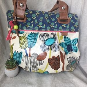 Fossil coated canvas large shoulder bags